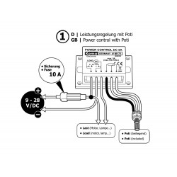 CONTROL DE POTENCIA PWM 9-28V DC 10A para motores, calentadores y LED