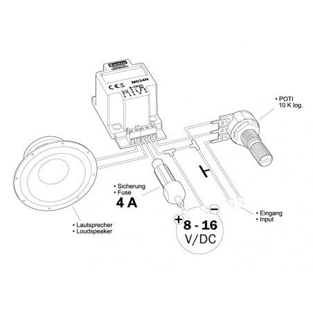 Amplificatore audio di potenza 40W ultracompatto 4 – 8 Ohm 6-16V DC
