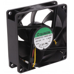 12V DC brushless cooling fan 80x80x25mm 69,29m3h 33dBA 3 wires