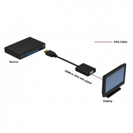 Adaptador y cable convertidor HDMI a VGA de frambuesa, integrado, compatible con consola y PC