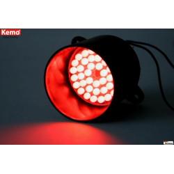 Lampada 39 LED rossa segnalazione 12V (24V) DC su tubo supporto antiriflesso