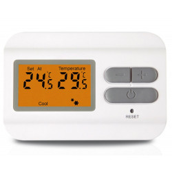 Wall-mounted digital thermostat with LCD display, hot and cold control by battery