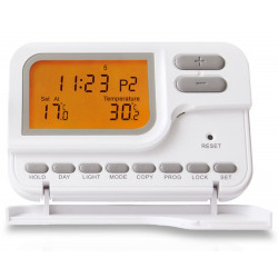 Programmable digital wall chronothermostat with hot cold battery LCD display