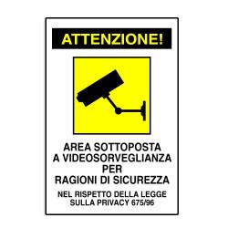 Cartello segnaletica CCTV obbligatoria CARTELLO AREA VIDEO SORVEGLIATA ALLUMINIO