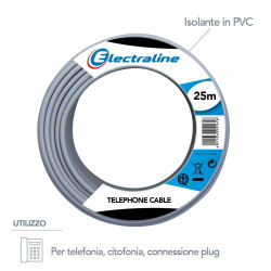 Matassa cavo telefonico citofonico da 25 m TR/R 3x0,6 mmq  Electraline 14001