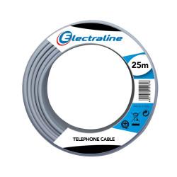 Pelote de câble téléphonique interphone 25 m TR / R 3x0,6 mmq Electraline 14001