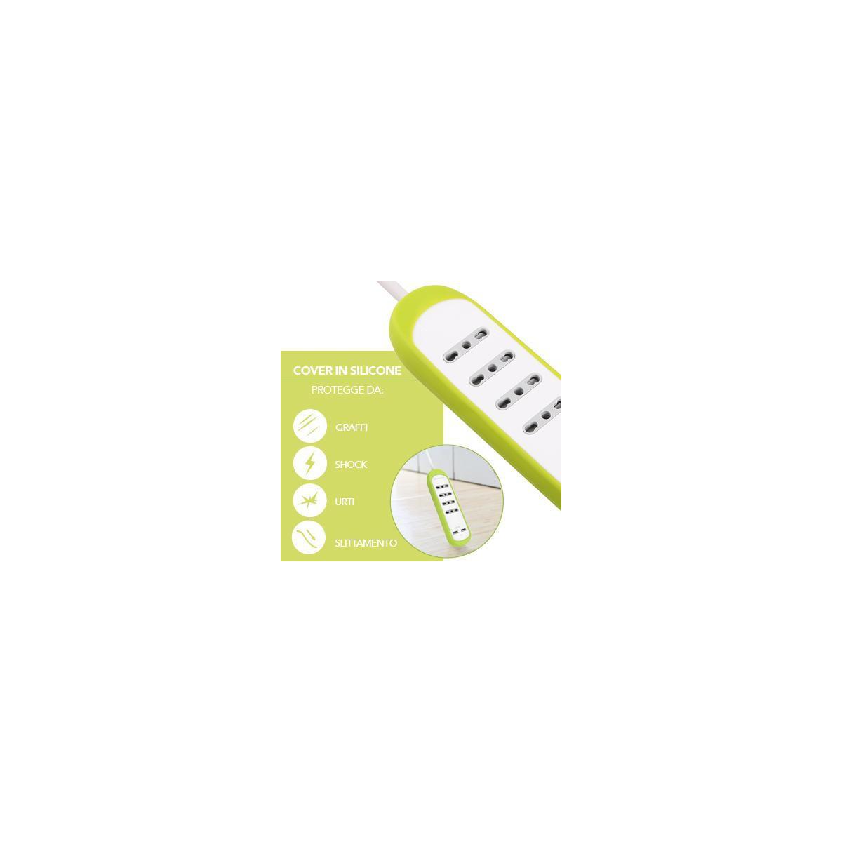 Multipresa-4-Posti-10-16A-2-USB-2-1A-Copertura-Protezione-Antiscivolo-Silicone miniatura 16