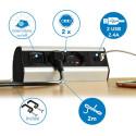 Multipresa da Scrivania 2 Schuko + 10/16A, 2 USB 2.4A, supporti per fissaggio