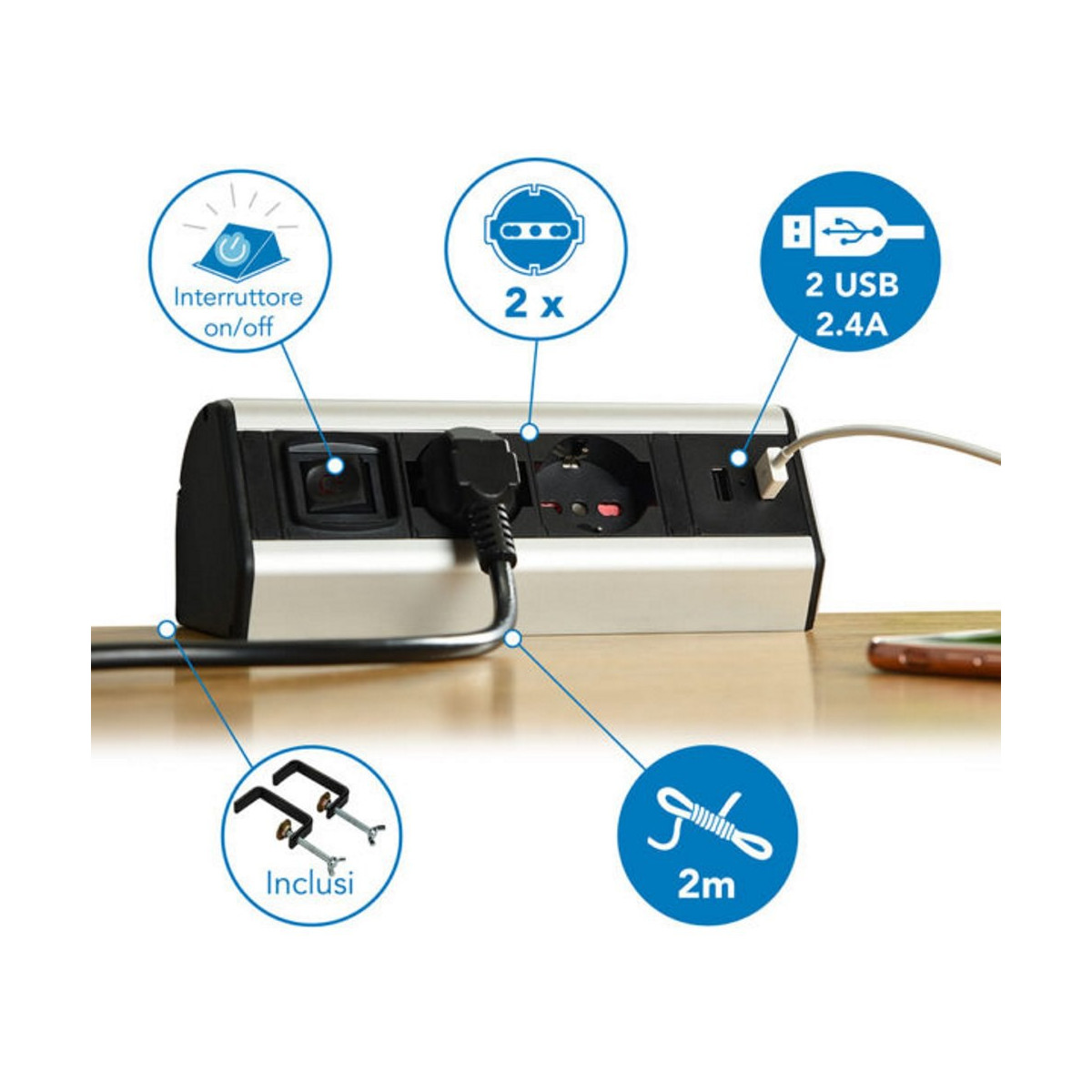 Multipresa-da-Scrivania-2-Schuko-10-16A-2-USB-2-4A-supporti-per-fissaggio miniatura 10