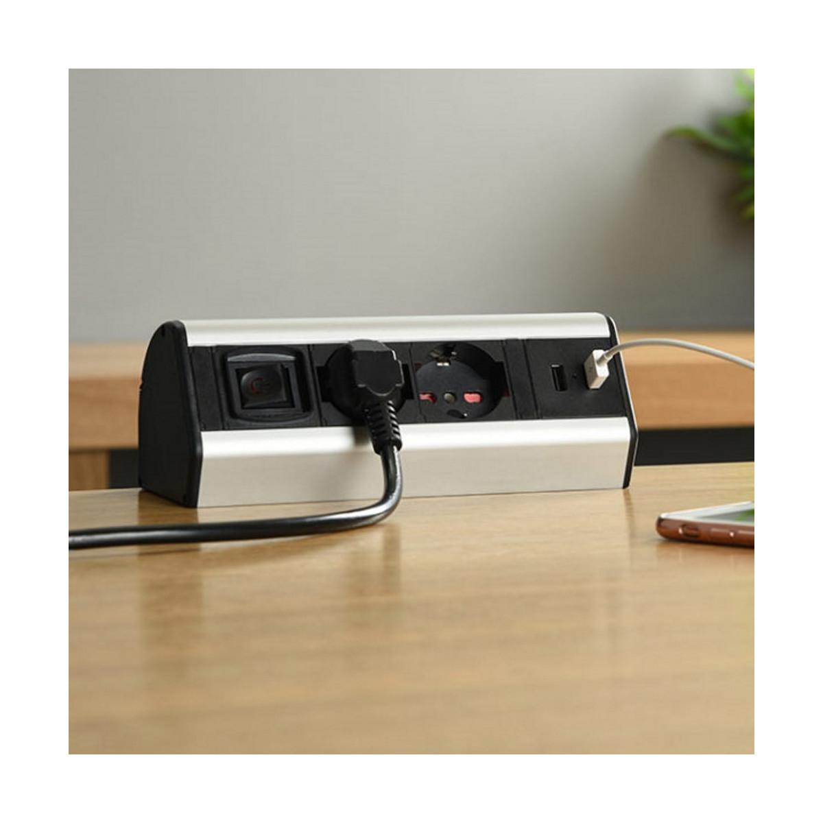 Multipresa-da-Scrivania-2-Schuko-10-16A-2-USB-2-4A-supporti-per-fissaggio miniatura 14