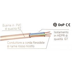 Cavo elettrico tripolare 3x1.5mm guaina PVC FG16OR16 3G1.5 grigio al metro