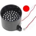 Lampada 50 LED ROSSO segnalazione 12V DC su tubo supporto antiriflesso