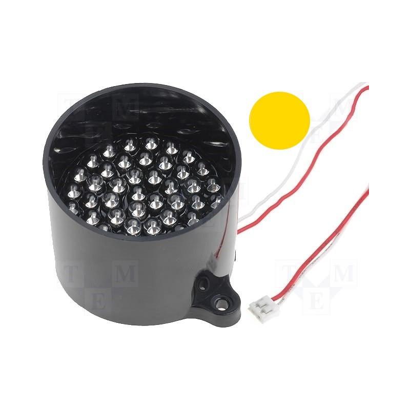 Lamp 50 YELLOW LED signaling 12V DC on anti-reflective support tube