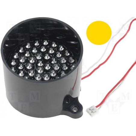 Lámpara 50 LED AMARILLA con señalización 12V DC en tubo soporte antirreflectante