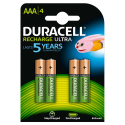 DURACELL RICARCABILE RECHARGE ULTRA AAA 900mAh NI-MH 4 BATTERIE ORIGINALI