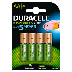 DURACELL RECHARGEABLE RECHARGE ULTRA AA 2500mAh NI-MH 4 ORIGINAL BATTERIES