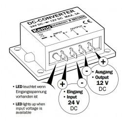 Convertitore DC-DC riduttore tensione da 24V a 12V automezzi, barche, camion