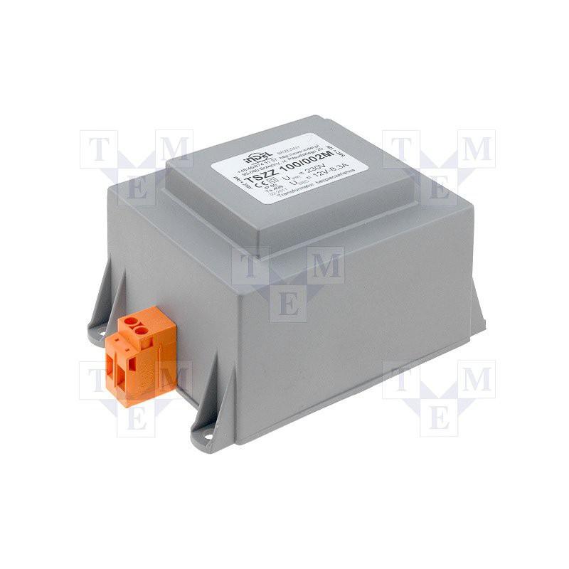 Trasformatore incapsulato con morsetti 230V 12V 100VA TSZZM 100/002M