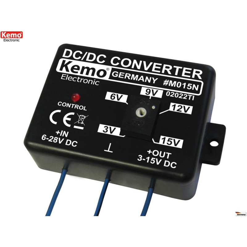 Adjustable stabilized step down DC DC converter from 3V to 15V DC 1.5A