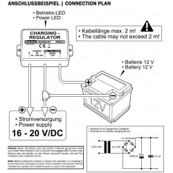 12V lead battery charge regulator for photovoltaics and power supplies