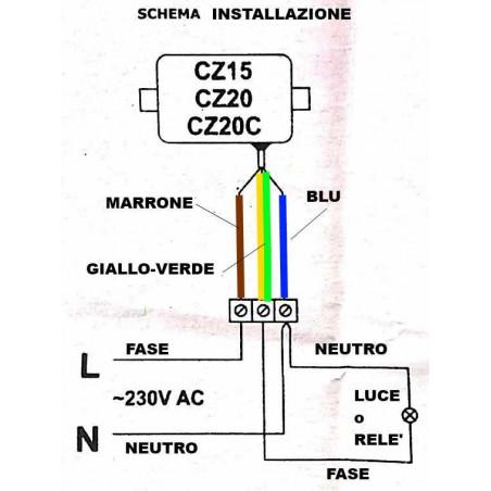 Interrupteur capteur crépusculaire 230V 2000W avec capteur discret sur trou mural