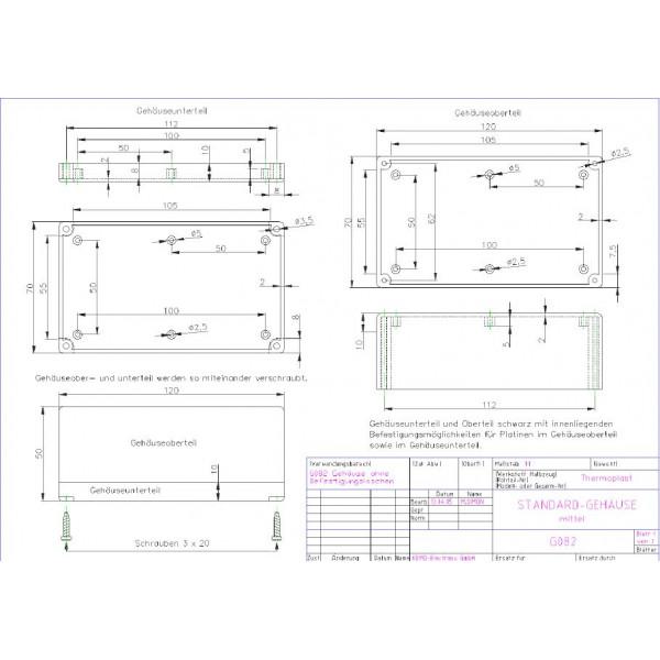 Kemo Electronic Contenitore plastico nero 120x70x50 mm apertura 4 viti mezzo eurocard