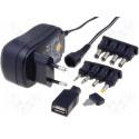 Alimentatore universale stabilizzato spina 3-12V DC 1A connettori DC, Jack e USB