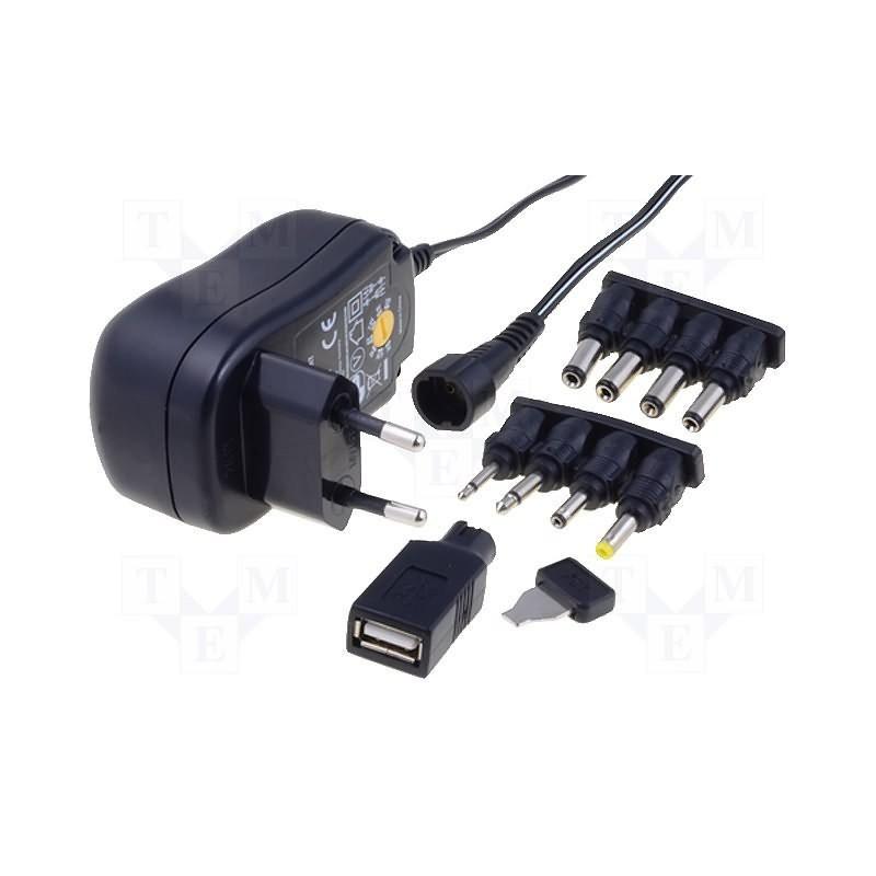 Fuente de alimentación universal estabilizada Enchufe de 3 a 12 V CC 1 A, CC, conectores Jack y USB