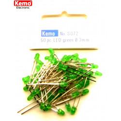 Confezione da 50 LED Ø 3 mm verde