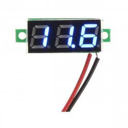 El mini voltímetro de pantalla luminosa AZUL mide 2.5-30V 2 cables