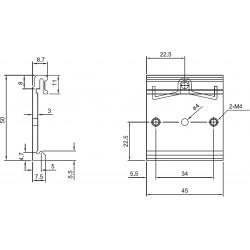 Gancio barra DIN in metallo 45mm posteriore alimentatori switching in case metallico