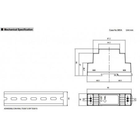 Alimentatore barra DIN universale switching stabilizzato 12V DC 1,25A DR-15-12