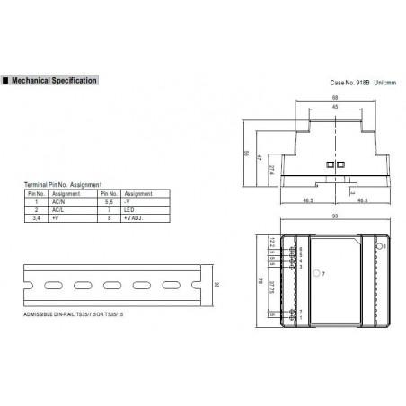Alimentatore barra DIN universale switching stabilizzato 12V DC 2A DR-30-12