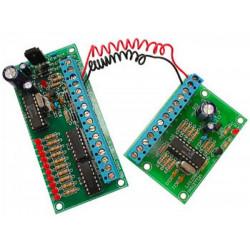 KIT CONTROLLO REMOTO 10 CONTATTI su 2 FILI 50m 12-15V AC DC