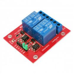 Modulo montato 2 relè bobina 5 Vdc contatti NA NC COM 250V 10A per Arduino