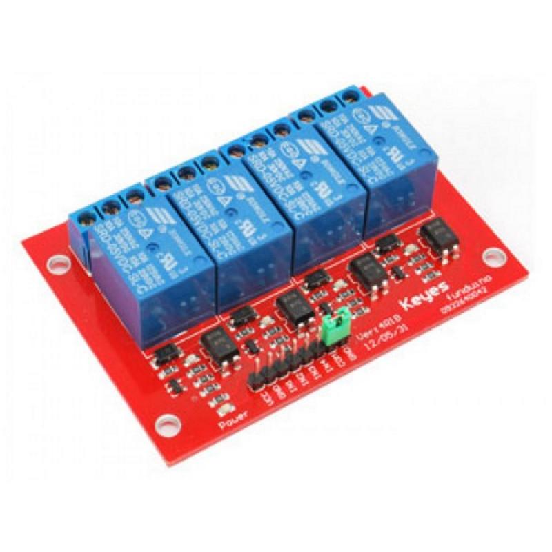 Modulo montato 4 relè bobina 5 Vdc contatti NA NC COM 250V 10A per Arduino