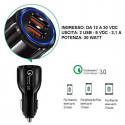 Caricatore con plug accendisigari, doppia uscita USB Quick charge 3,1 A