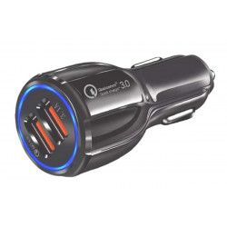 Charger with cigarette lighter plug, double USB Quick charge 3.1 A output