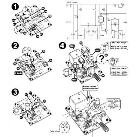 Temporizador de precisión KIT inicio parada 1 seg - 40 min salida relé 12V DC ajustable