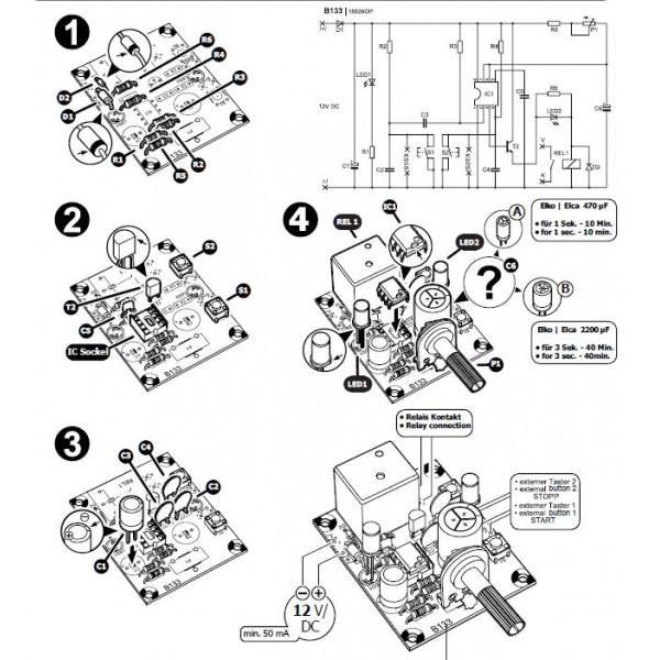 KIT timer di precisione start stop 1 sec 40 min regolabile 12V DC uscita a rel