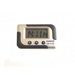 Orologio digitale LCD portatile batteria quarzo per auto con sveglia e staffa