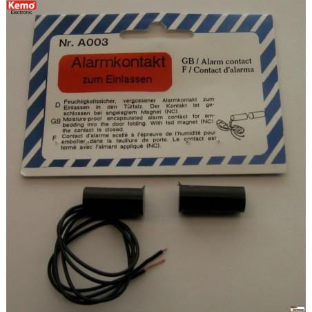 Magnetic sensor for doors, windows, NC contact, built-in burglar alarms
