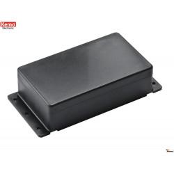 Envase de plástico negro 122x72x36 mm apertura 4 tornillos, se puede fijar a la pared