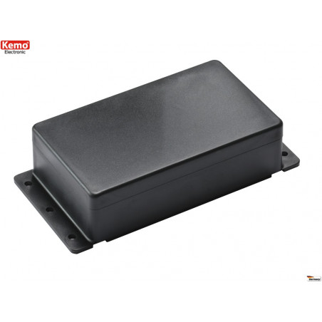 Black plastic container 122x72x36 mm opening 4 screws, can be fixed to the wall