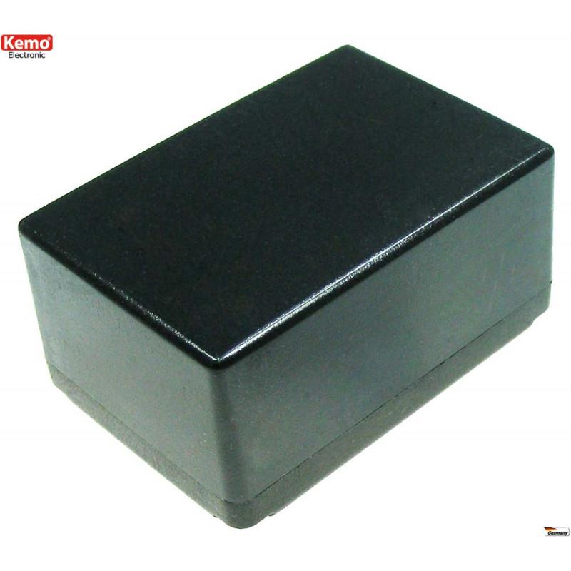 Mini contenedor de plástico negro 72x50x35 mm apertura 4 tornillos