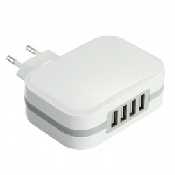 Electraline 70063 Caricatore 4 USB da muro 6.8A Fast Charge Smart IC