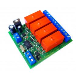 MODBUS RTU Mini OUT 4 output relè SPDT 16A su bus RS485 modulo DIN