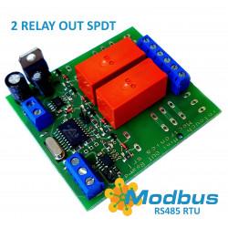 MODBUS RTU Mini OUT 2 output relè SPDT 16A su BUS RS485 scheda sfusa