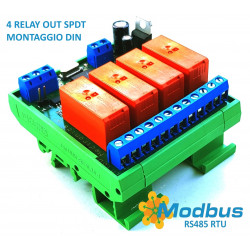 MODBUS RTU Mini OUT 4 output relè SPDT 16A su BUS RS485 modulo DIN