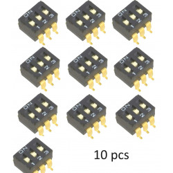 10 PEZZI DIP-SWITCH SMD 3P ON-OFF A6S-3102-H OMRON OCB